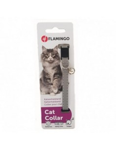 COLLAR GATO NYLON PLATA REFLECTANTE